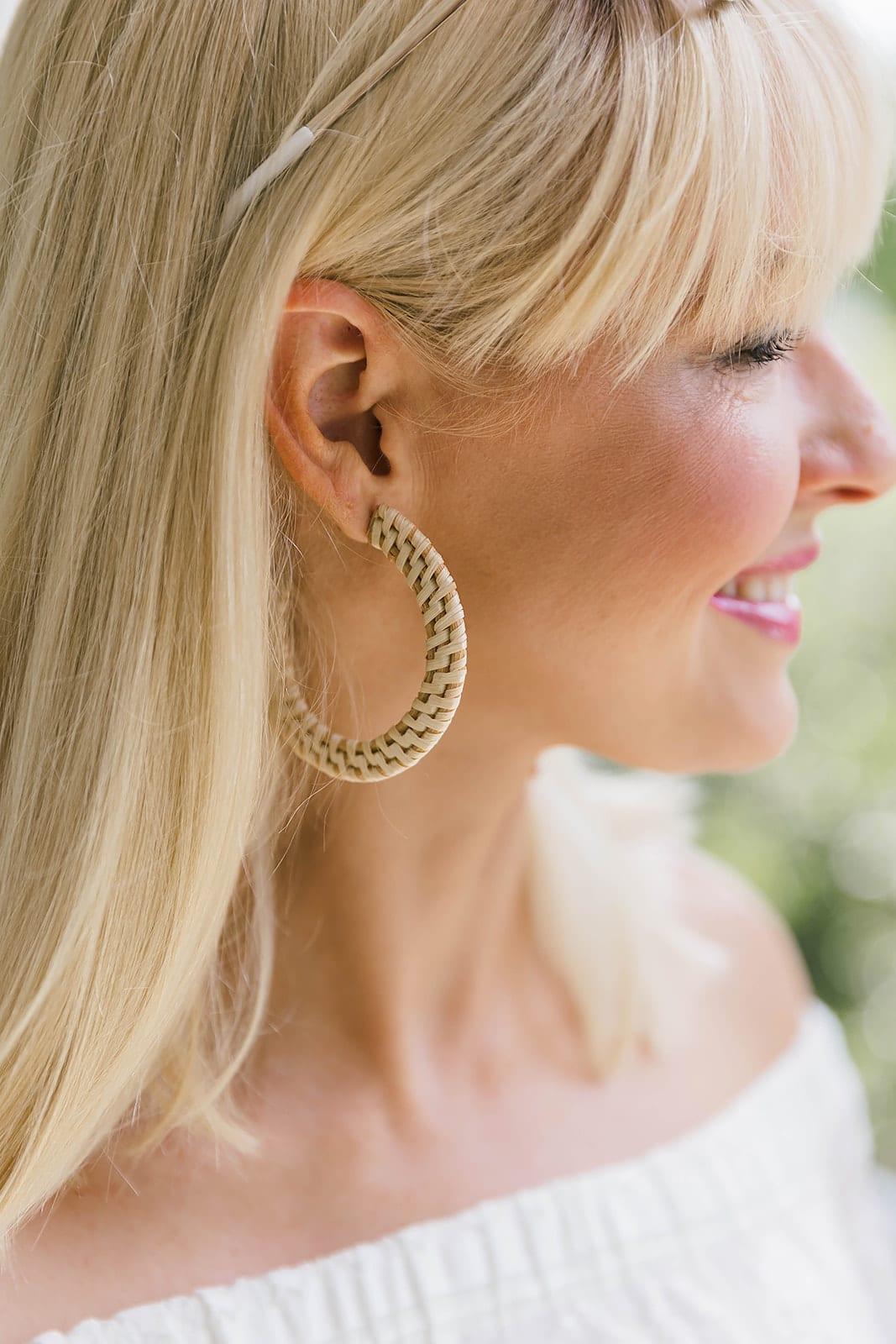 Wicker earrings from Anthropologie. Summer lightweight earrings on sale.