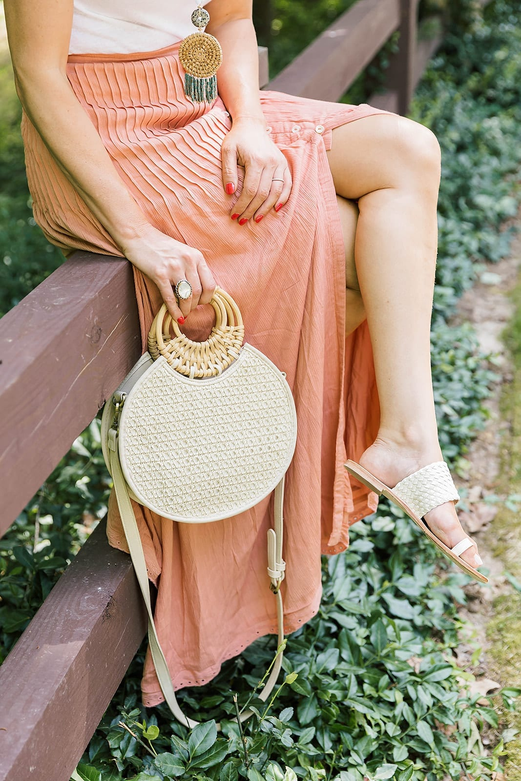 Woven circle bag. Anthropologie Purse that is a woven crossbody bag or woven summer handbag on sale.