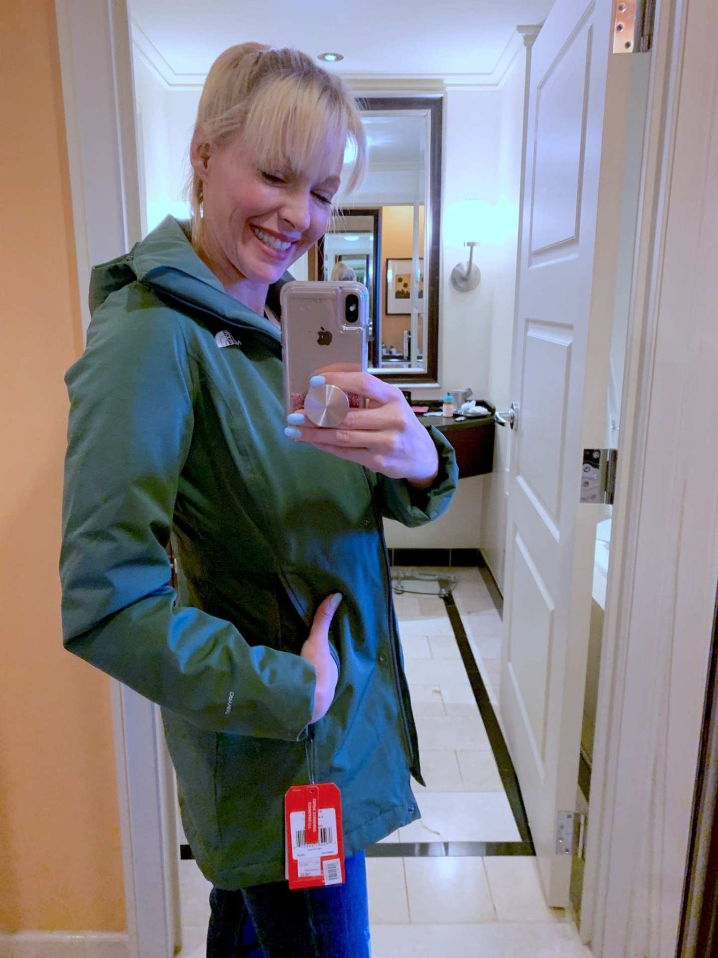 Womens North Face Jacket on Sale. Green long North Face jacket with hood at Nordstrom Anniversary Sale.