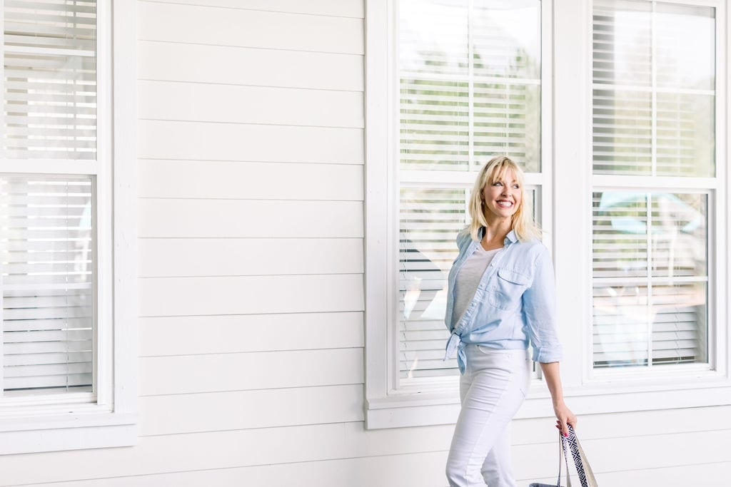 Calico Chambray Shirt with white jeans.