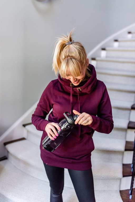Volcom sweatshirt for women. Yoga pants and super cute hoodie with leather detail.