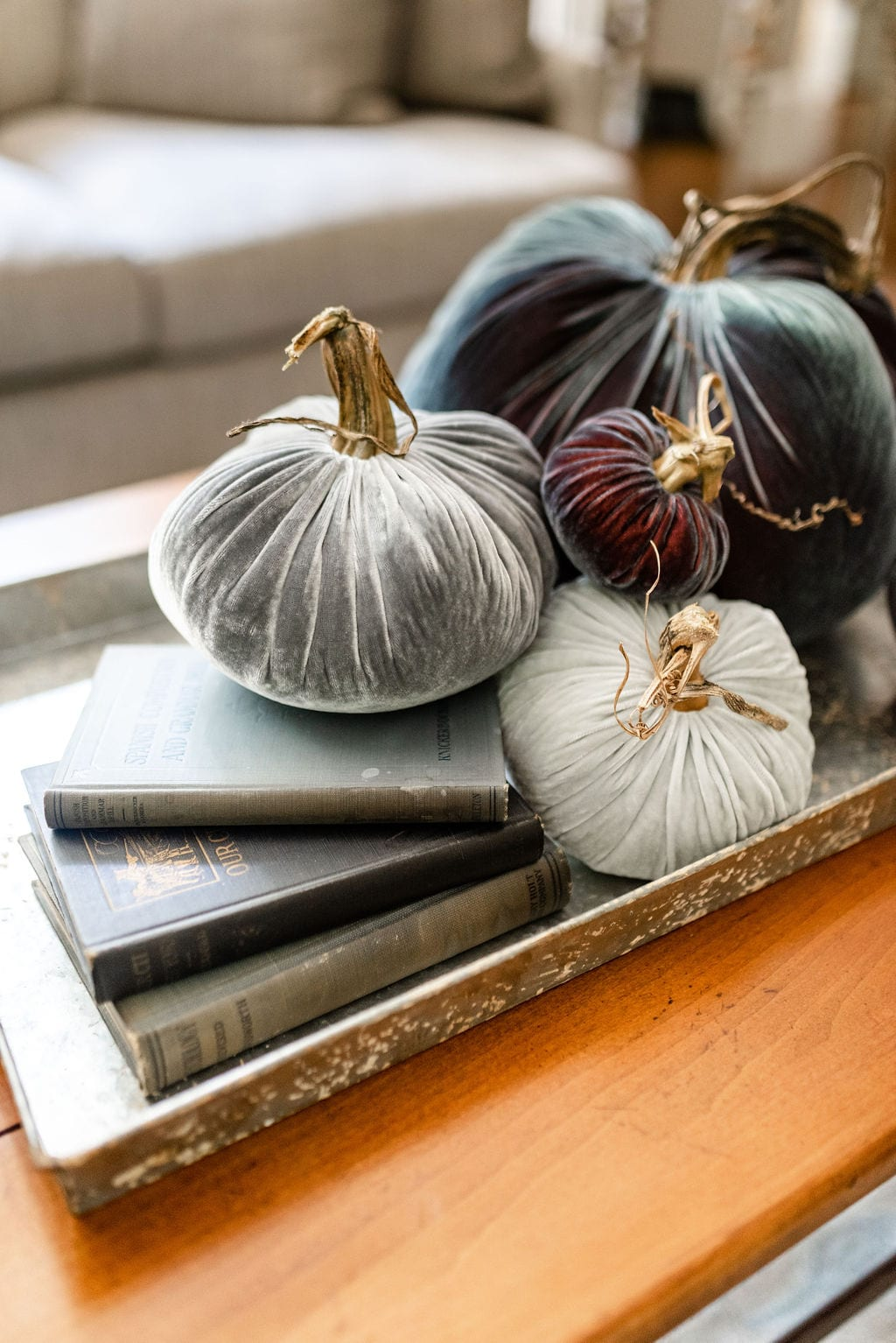 Gorgeous blue and gray velvet pumpkins! Fall home decor make a beautiful table setting!