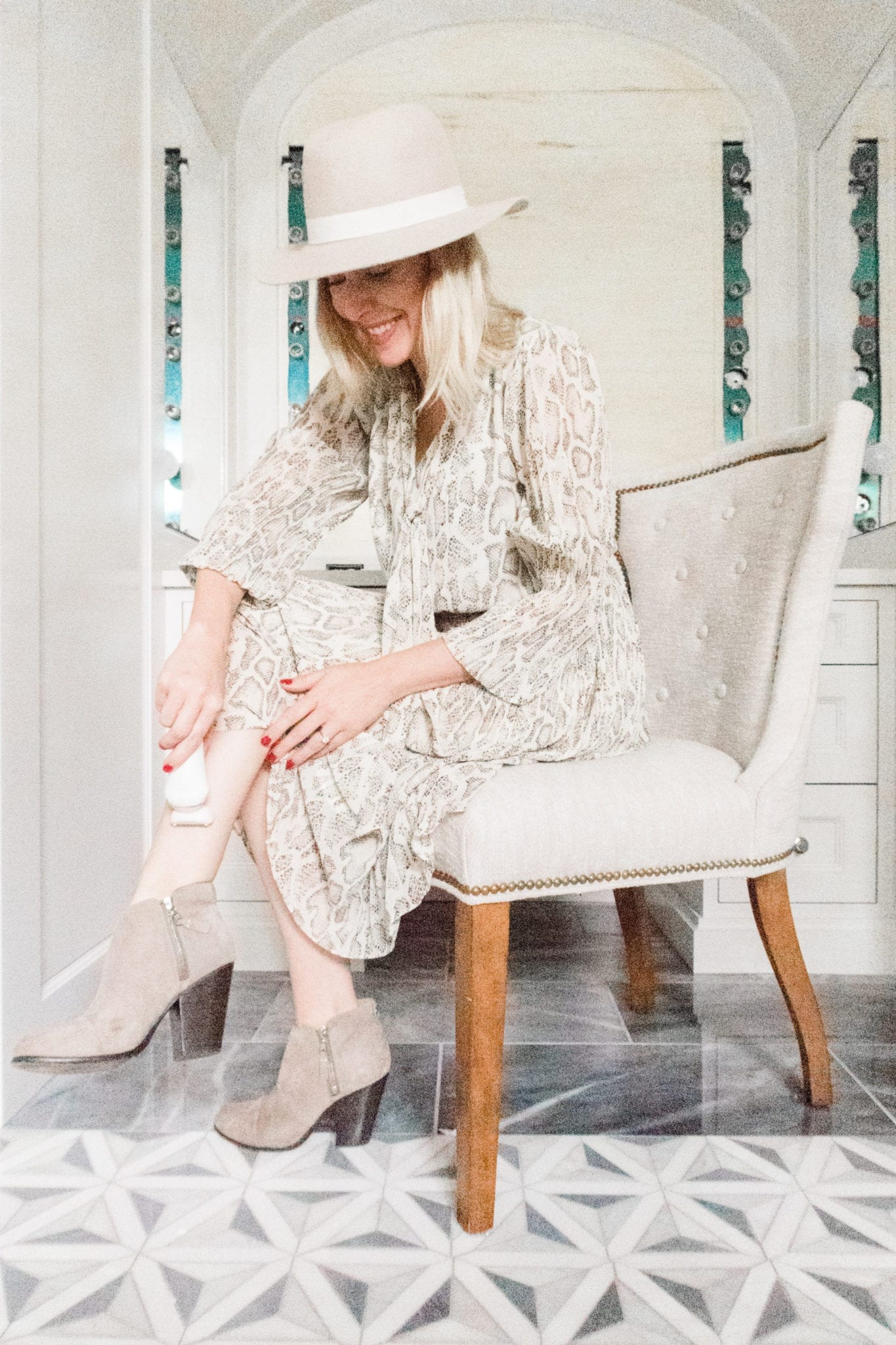 Anthropologie Snakeskin Dress with suede booties and fall hat. How to shave in the winter without getting dry skin. Philips SatinShave Razor.