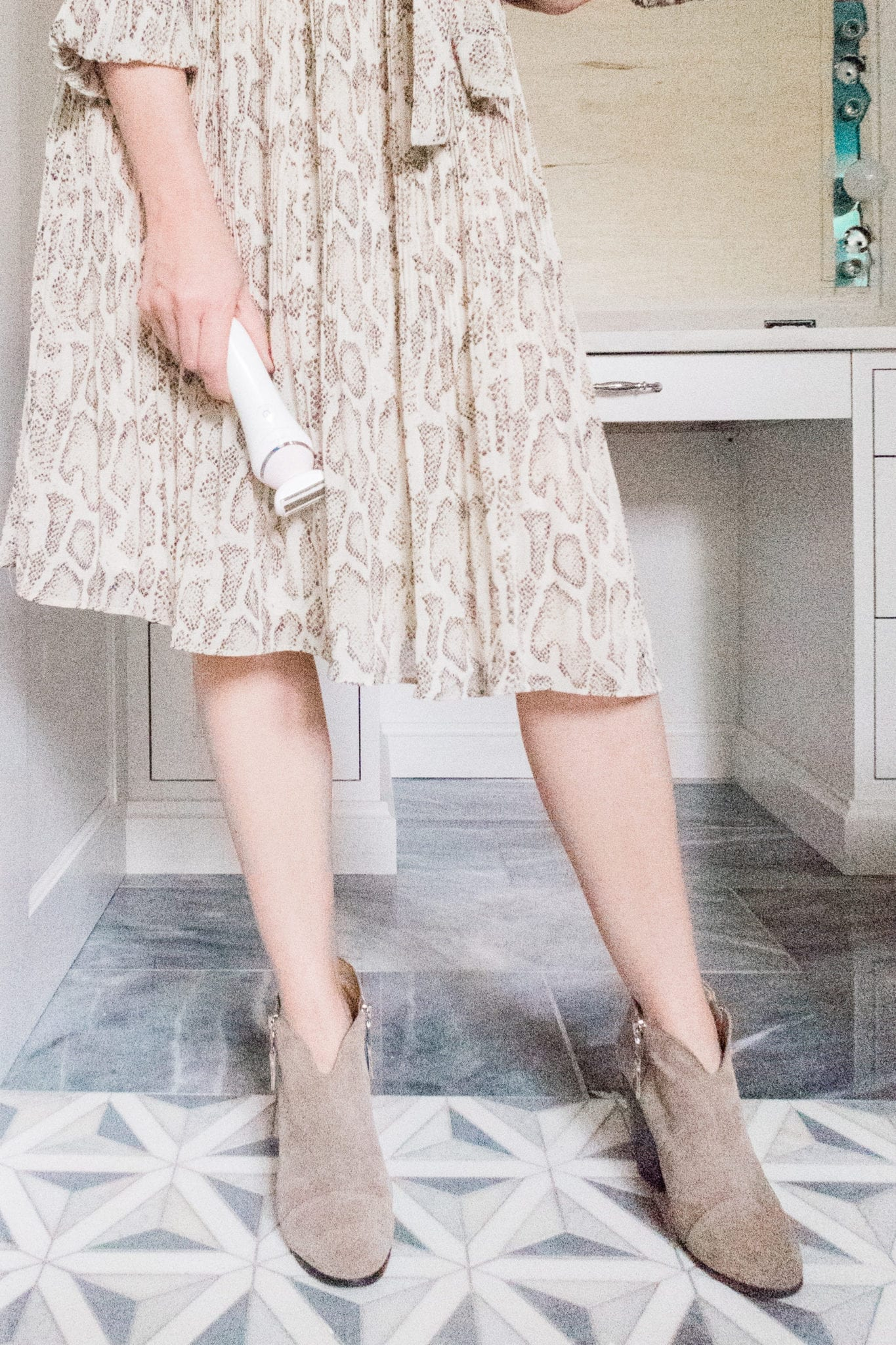 Shaving with winter skin. How to keep winter skin soft. Philips Electric Razor. Suede booties and Anthropologie dress.