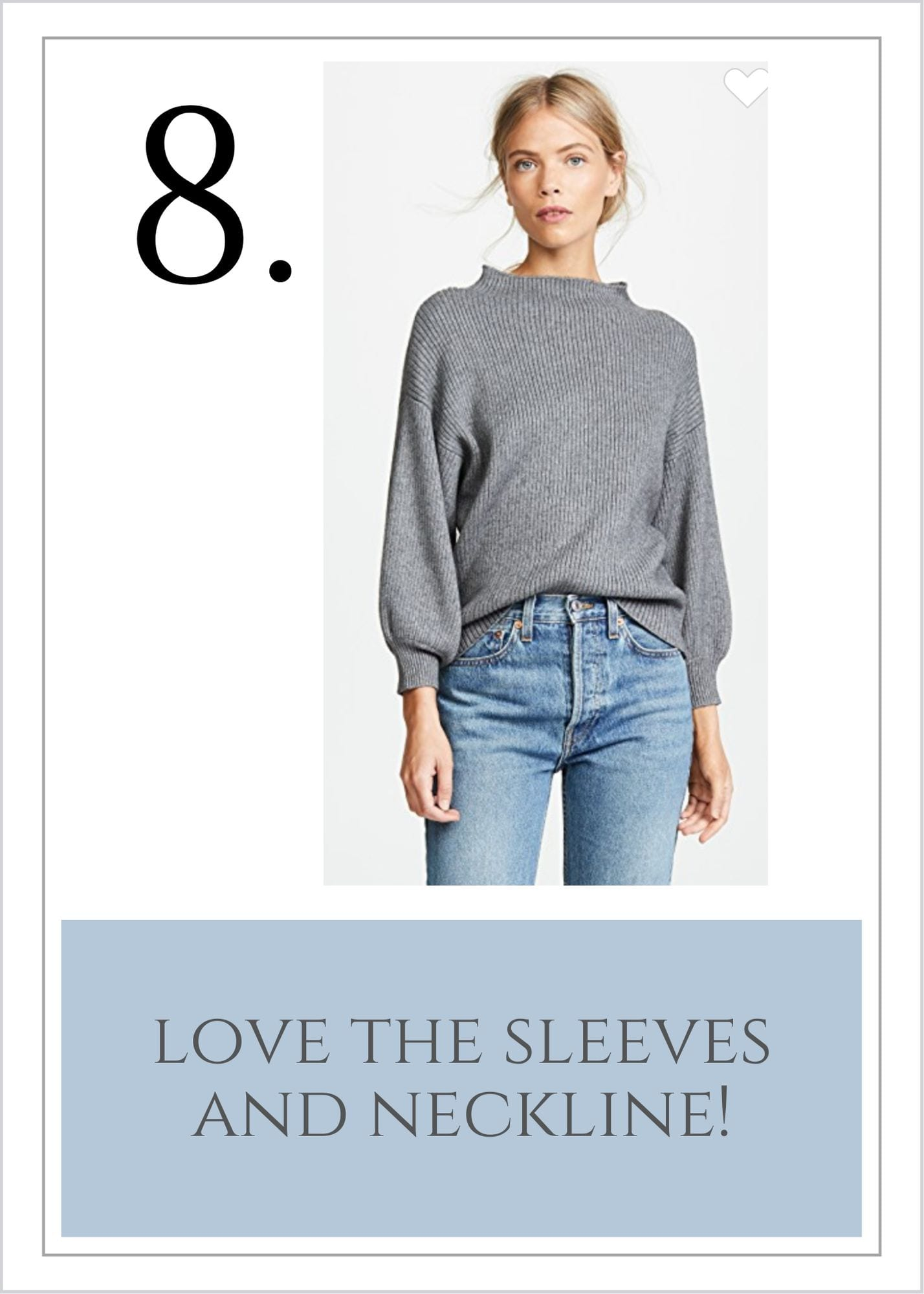 Gray sweater with puffy sleeves.