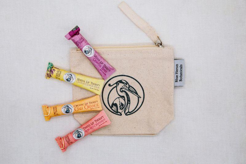 cosmetic bag and lip balm