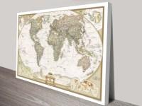 World Map Canvas Wall Art | Framed Maps Sydney