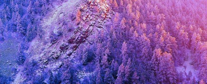 Winter light against Boulder, Colorado's Flatirons.