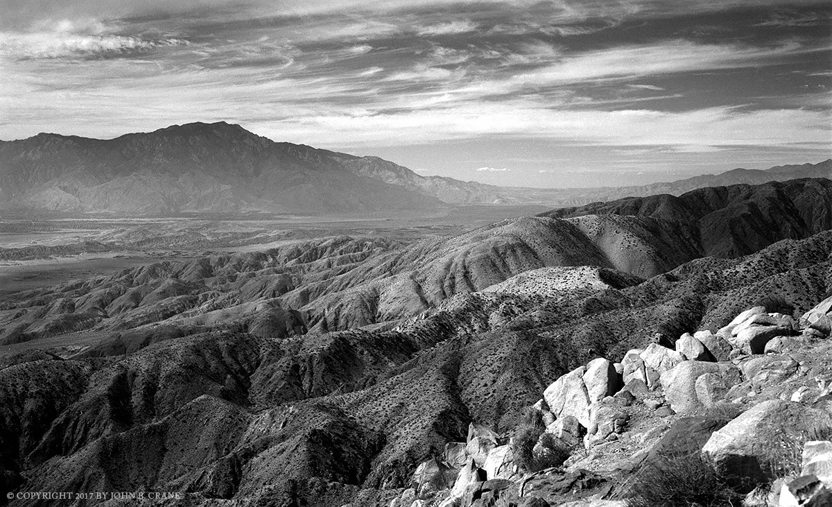 Looking out over the San Andreas Fault, Indio Hills and Little San Bernardino Mountains from Keys View, Joshua Tree National Park, California (2017)