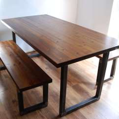 Industrial Kitchen Table The Game Vintage Rustic Dining Bench Set