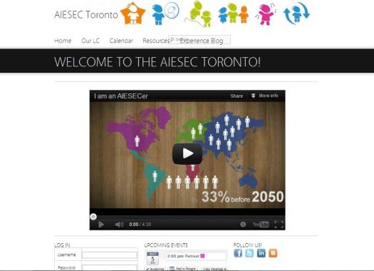 AIESEC Toronto's website, running WordPress