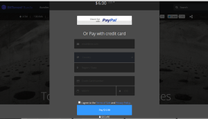 The payment form including ability to change currency + pay with paypal