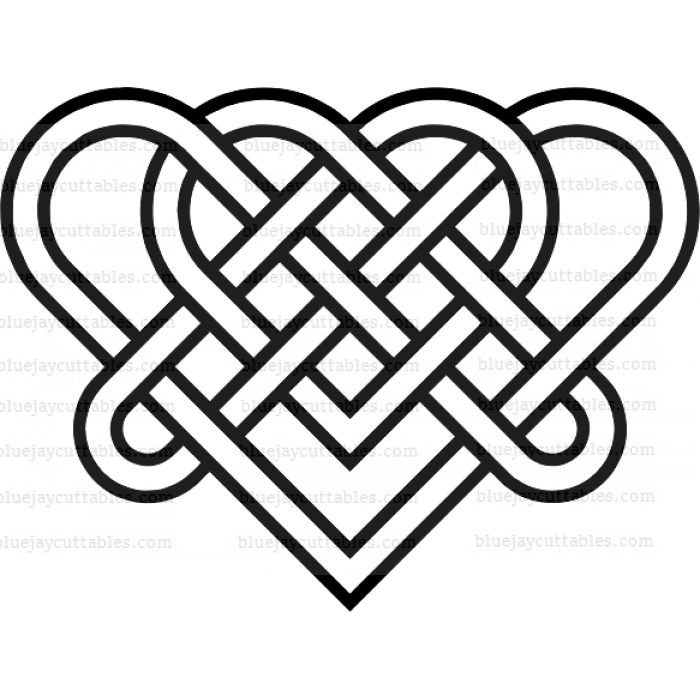 Download Celtic Interlocking Hearts Cuttable SVG and Printable PNG File