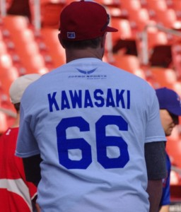 Mike McCoys wears a Kawasaki T-Shirt during batting practice in Buffalo