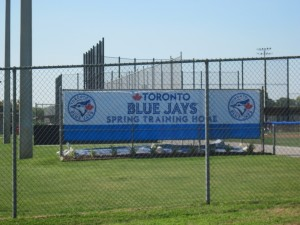 A photo of the sign announcing the presence of the Blue Jays at the Bobby Mattick Training Facility