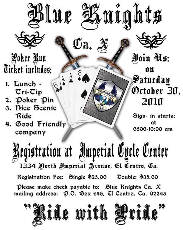 Ca. X's Annual Poker Run October 30th