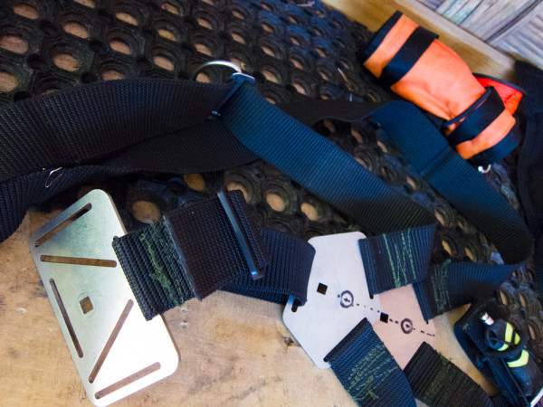 Backplates and harness for technical and sidemount diving