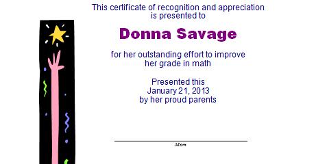 Improvement Award Template
