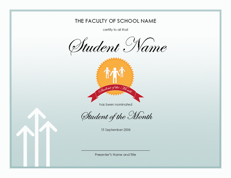 Student of the year award certificate templates dcbuscharter student of the year award certificate templates yelopaper Image collections
