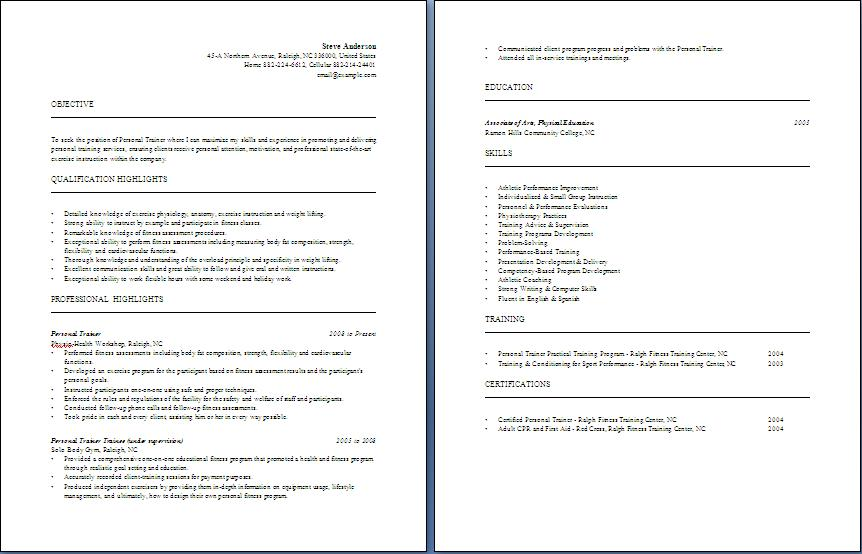 Personal Trainer Resume   Free Layout U0026 Format