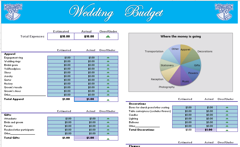 free wedding budget spreadsheet