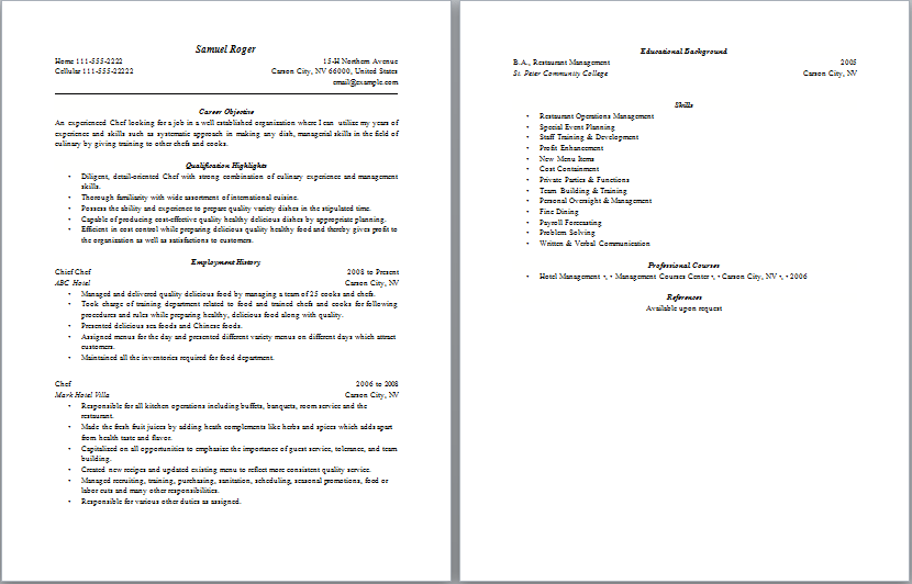 sample - Resume Sample For Cook