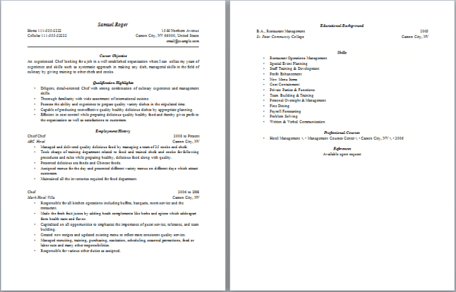 chef resume free layout format sample chef resume