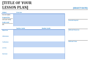 Garde 1 Lesson Plan Template