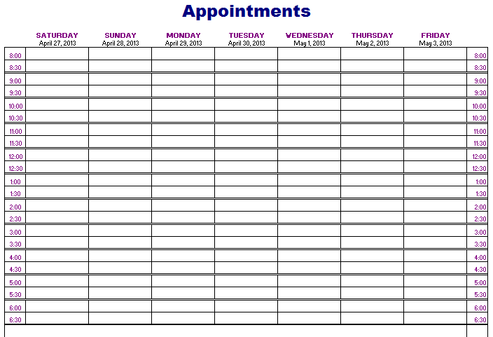 Appointments Schedule Template | Free Layout & Format