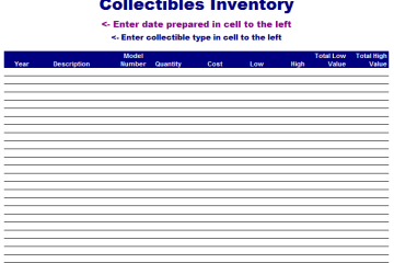 Collectibles Inventory Template