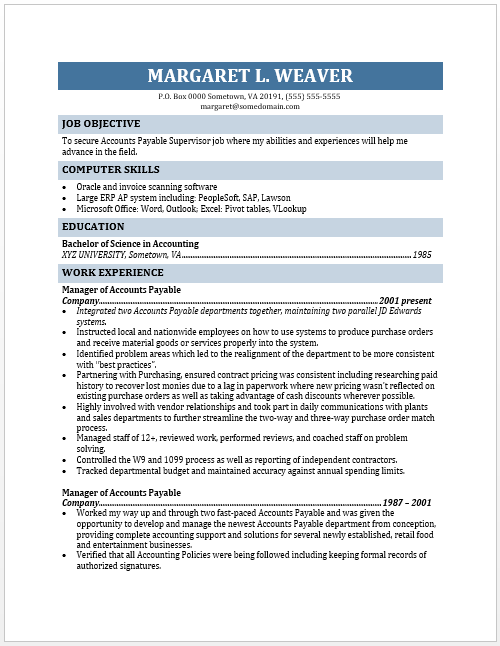 accounting supervisor resume template