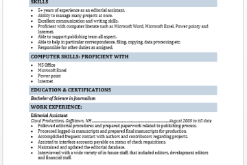 Editorial Assistant Resume