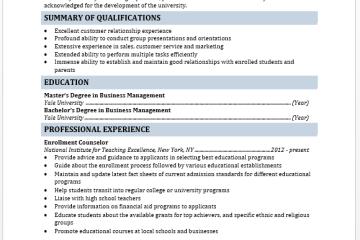 Enrollment Counselor Resume