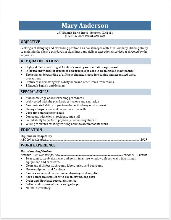 housekeeper resume free layout format housekeeper resume - Special Skills For Housekeeping