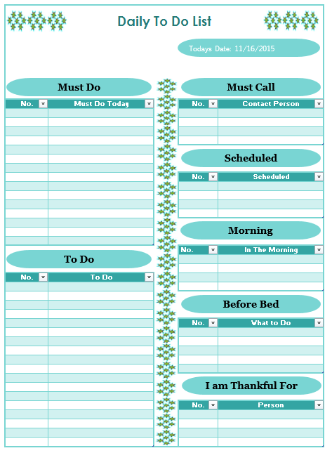 daily list template