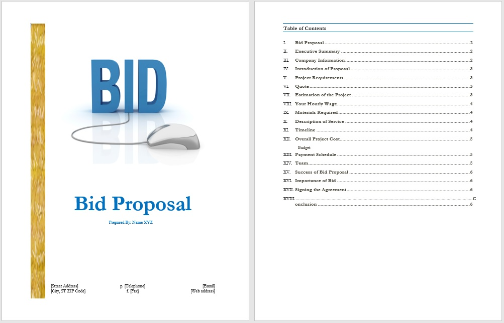 Bid Proposal Template  Free Layout  Format