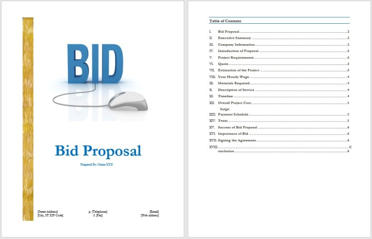 Bid Proposal Template  Blue Layouts