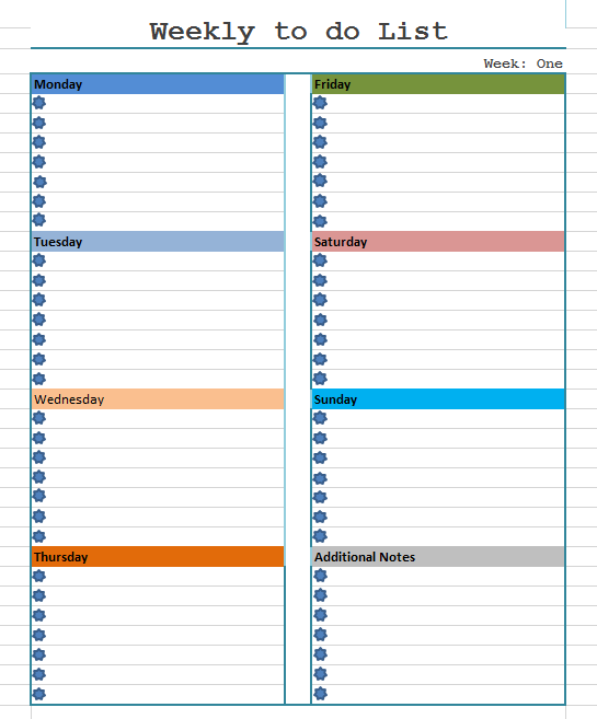 Weekly To Do List Template – Weekly to Do List Template