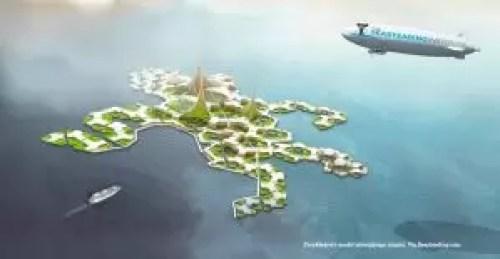 Pływające miasto Seasteading. Jeden z projektów architektonicznych.