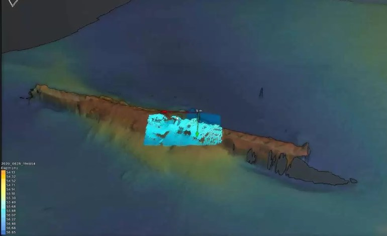 Obraz 3D w wysokiej rozdzielczości, pokazujący surowe echo sondowania.