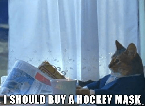 Cat reading newspaper meme which reads maybe I should buy a hockey mask
