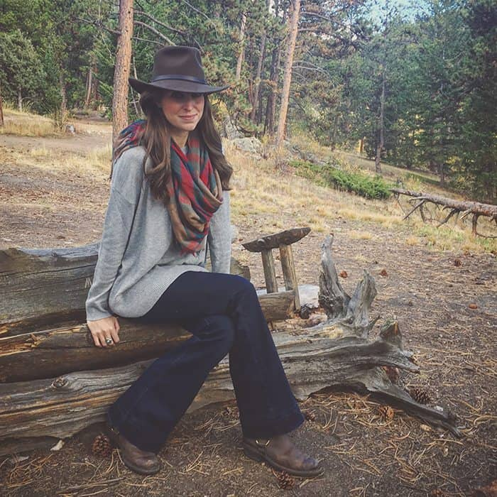 Fall Mountain Style - JBrand Flares, H&M Gray Sweater, Nordstrom Plaid Scarf, Puff Vest and Felt Hat