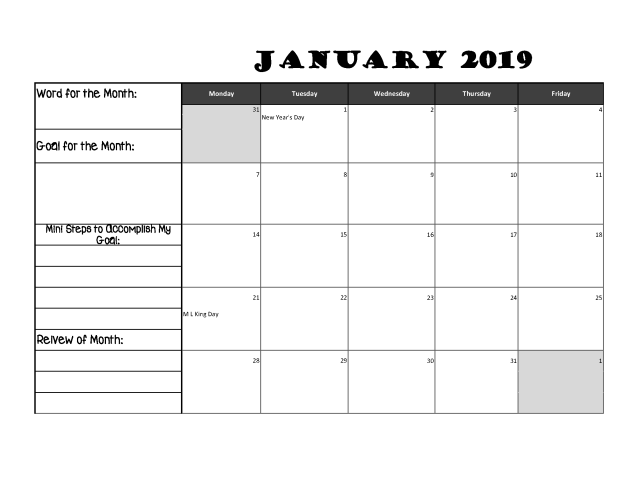 Goal setting calendat for students