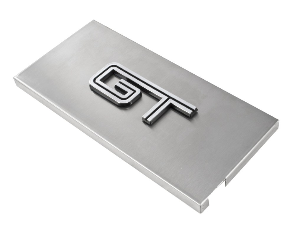 medium resolution of 2005 2009 ford mustang brushed satin stainless engine fuse box cover w gt emblem 2005 2009 mustang
