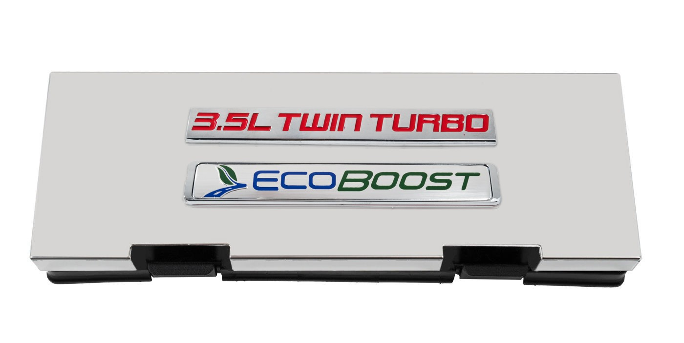 hight resolution of 2010 2014 ford f150 stainless fuse box cover w 3 5l twin turbo ecoboost emblem