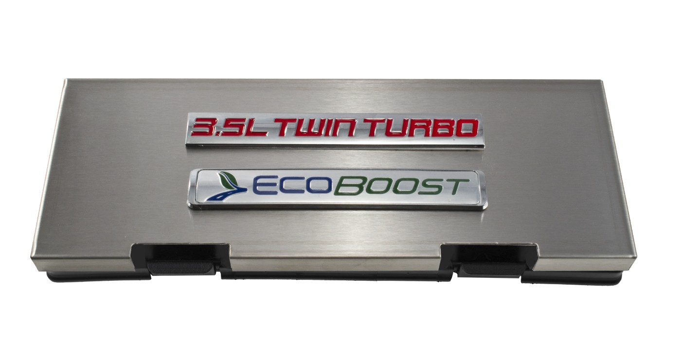 hight resolution of 2010 2014 ford f150 brushed engine fuse box cover 3 5 twin turbo ecoboost emblem engine compartment ford truck