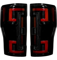 2017 2018 ford f250 350 450 superduty truck recon 264299bk smoked oled rear tail lights pair lighting ford truck [ 1500 x 1500 Pixel ]