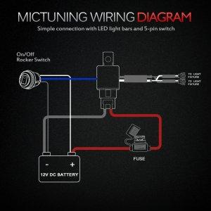 MICTUNING HD 12 Gauge 600W LED Light Bar Wiring Harness