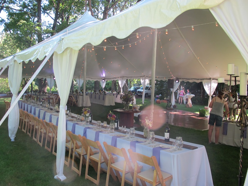 tent and chair rental floating for pool leg draping | blue peak tents, inc.