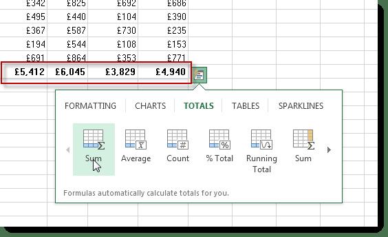 Excel 2013 Quick Analysis Tool